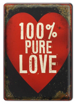 100% PURE LOVE METALOWY SZYLD RETRO #00340