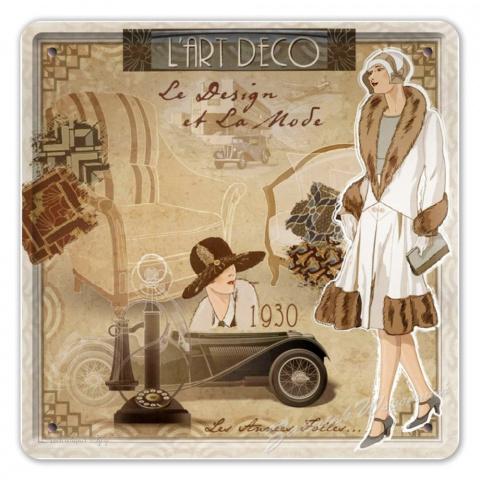 Art Deco Metalowy Szyld Plakat Vintage Retro 02917