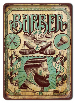 BARBER SHOP METALOWY SZYLD PLAKAT RETRO #08771