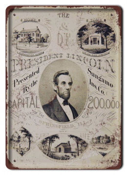 ABRAHAM LINCOLN METALOWY SZYLD RETRO #05448