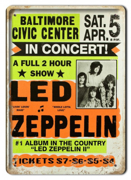 LED ZEPPELIN METALOWY SZYLD VINTAGE RETRO #05593