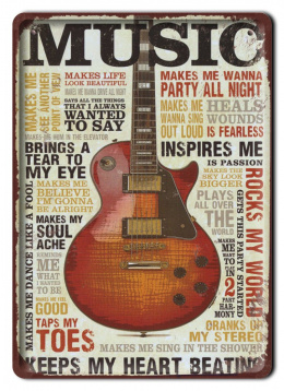 GITARA COUNTRY PLAKAT METALOWY SZYLD RETRO #11624